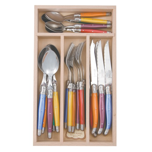Debutant 24 Piece Mixed Colours Cutlery Set