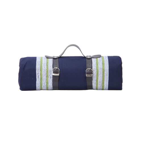 AEGEAN Family Picnic Blanket Blue and Green Stripes