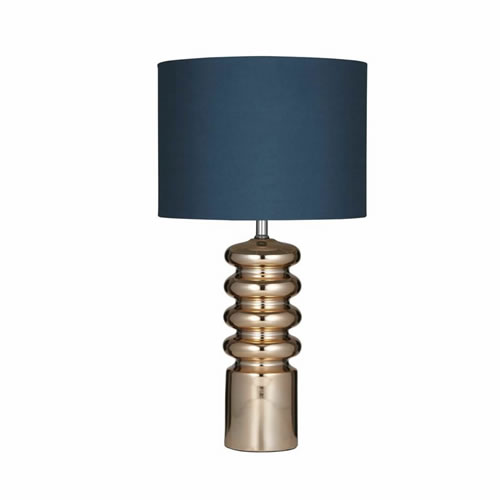 Priscilla Lamp in Copper Ceramic with Blue Shade 70cm