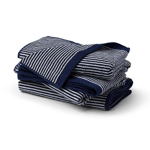 Apollo Navy White Stripe Bath Towel
