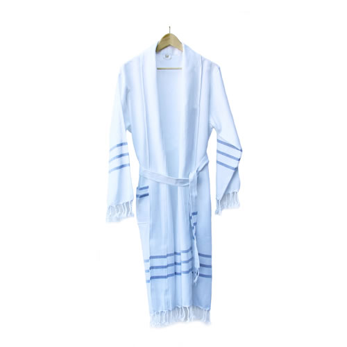 Assos Handloomed Cotton Robe - White with Blue Stripes