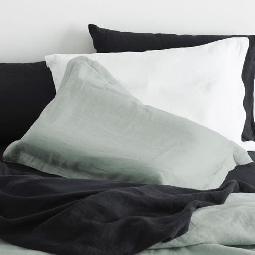 Azure Pure Linen Standard Pillowcase Set