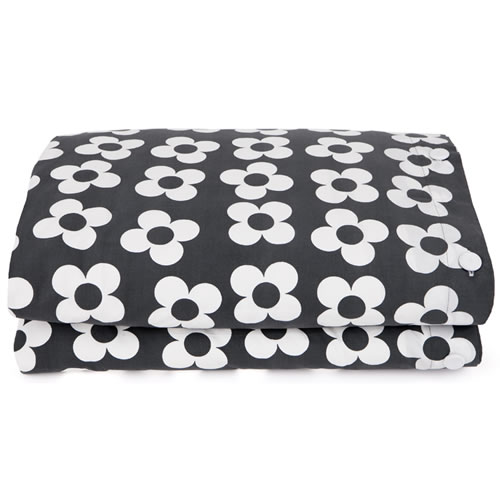 Big Charcoal Flower Quilt Cover Double