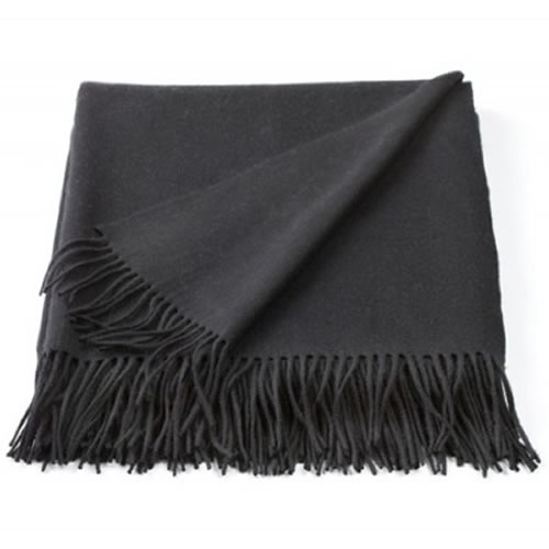 Cashmere Mix Throw in Black