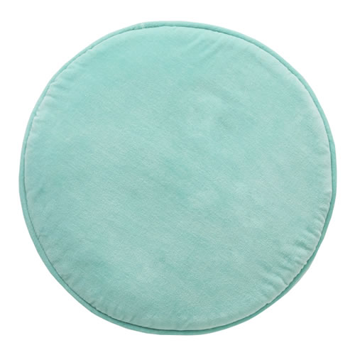 Blue Velvet Penny Round Cushion