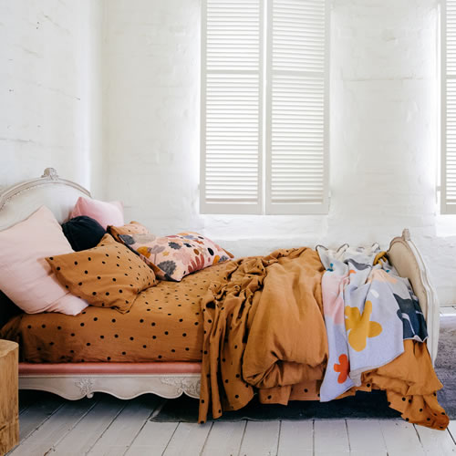 Butterscotch Spot Linen Queen Fitted Sheet