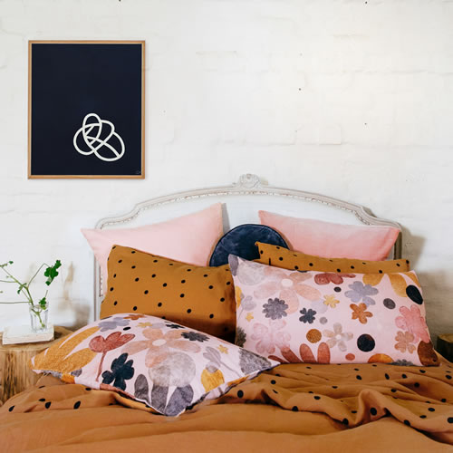 Butterscotch Spot Linen King Flat Sheet