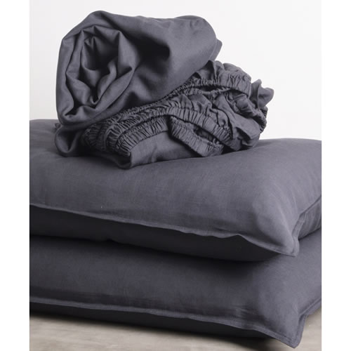 Charcoal Pure Linen King Sheet Set