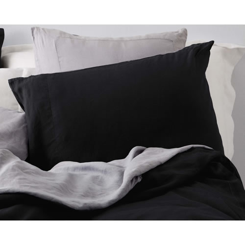 Charcoal Pure Linen Standard Pillowcase Set