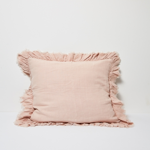 Agnes Linen Cushion W Ruffle Edge - Blush