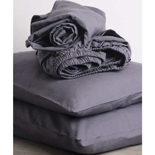 Graphite Pure Linen Queen Sheet Set