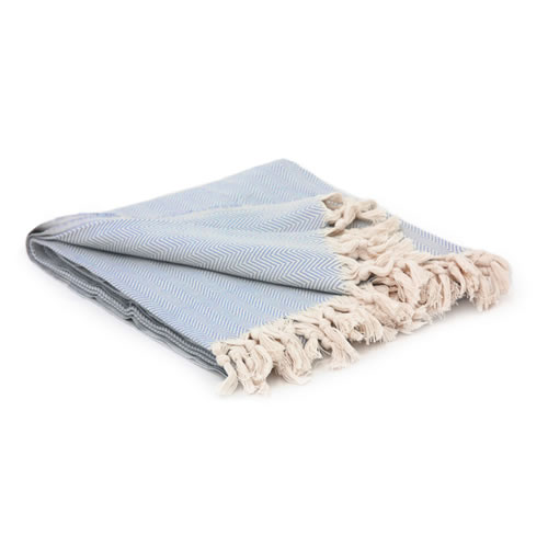 Hand loomed Cotton Herringbone Blanket Pale Blue