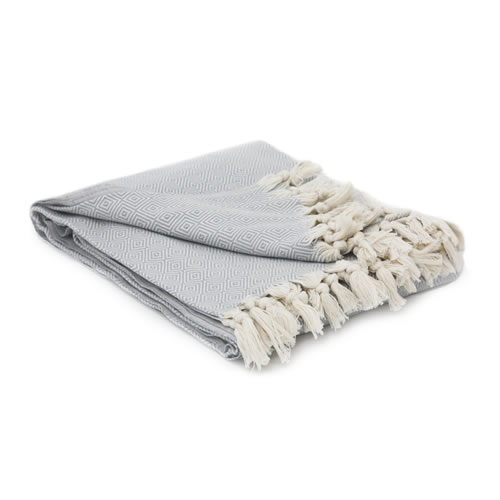 Hand loomed Cotton Herringbone Blanket Grey