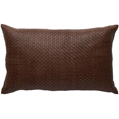 Nappa Rectangle Leather Cushion in Tan