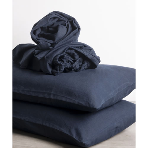 Navy Pure Linen Queen Sheet Set