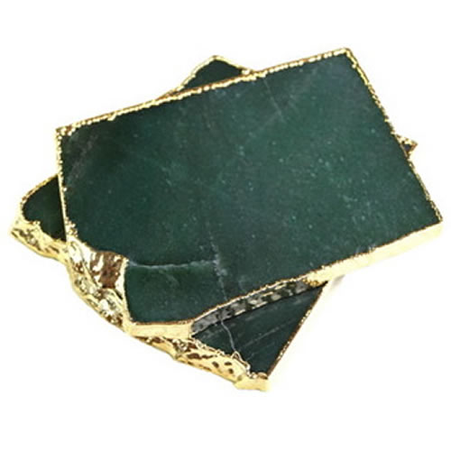 Gold Trimmed Quartz Coasters in Moss