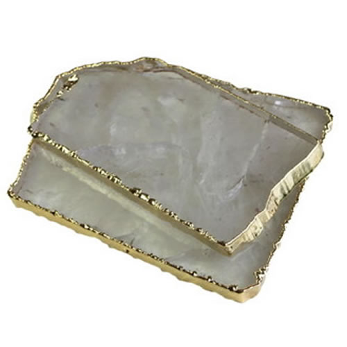Gold Trimmed Quartz Coasters in Veil