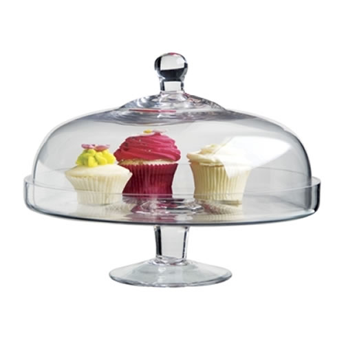 Salut Glass Domed 29X30cm Cake Stand
