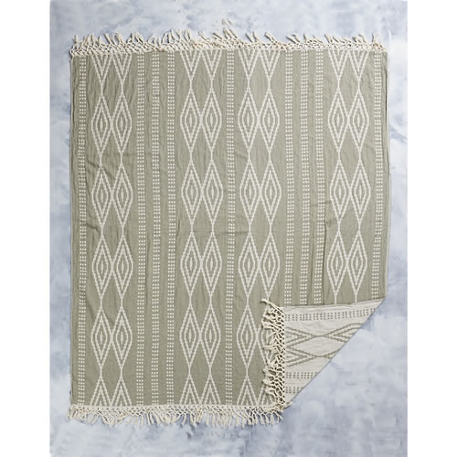 Square Sevgi Towel in Olive and Natural