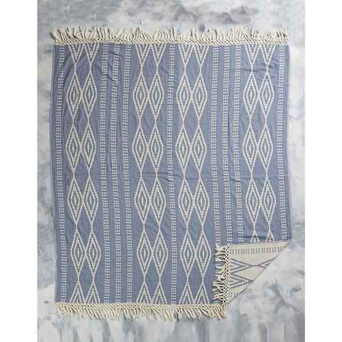 Square Sevgi Towel in Blue and Natural