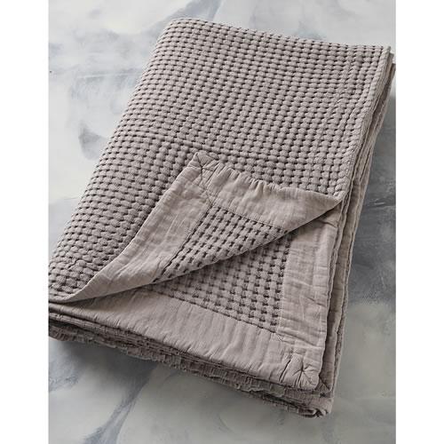 Textural King Bed Cover Clay