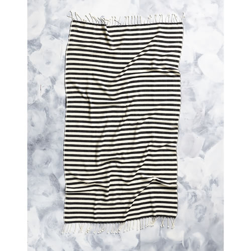 Tribal Candy Stripes Towel in Black