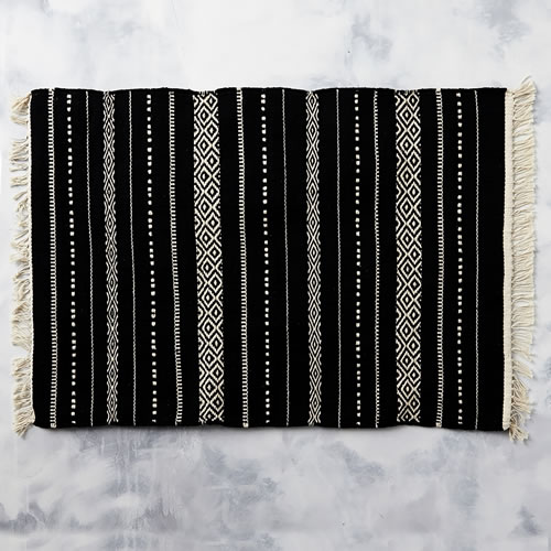 Tribal Bathmat in Black