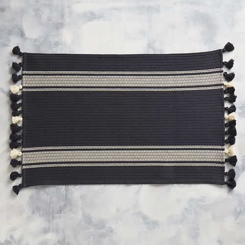 Truva Charcoal Bathmat with Natural Stripes