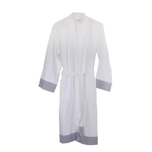 Truva Turkish Robe White with Grey Stripe Medium to Large