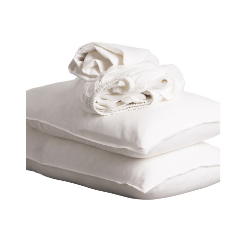 White Pure Linen King Sheet Set