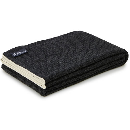Wool Knit Carbon Throw Rug